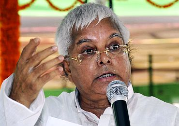 Lalu Prasad Yadav speaks during a meeting with his party workers