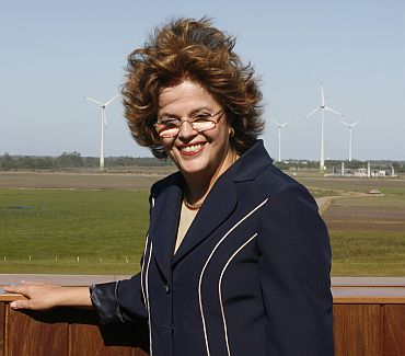 File photo shows Dilma Rousseff posing after visiting a wind power plant in the city of Osorio in southern Brazil on November 30, 2007