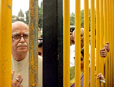 Advani inspects the site of the Ram temple in Ayodhya, in July, 2005