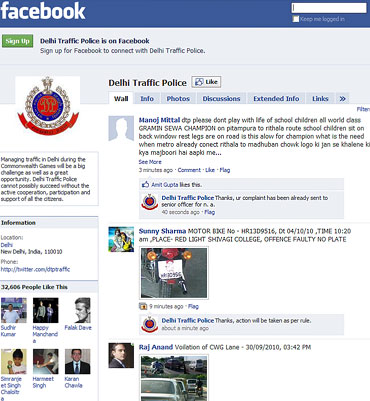 The Delhi traffic police page on Facebook