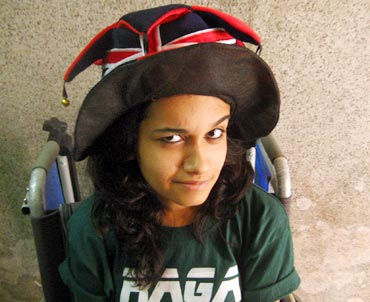 Antara, in a wheelchair, at her college fest
