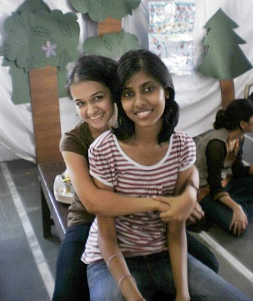 Antara with her friend Sadia, before the accident