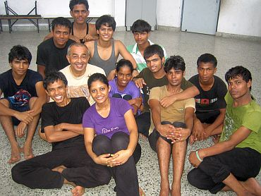Astad Deboo with his students