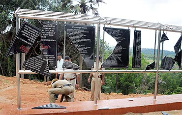 The Mangalore air crash memorial was found desecrated on Tuesday