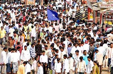 Dalits at the Ambedkar memorial in Mumbai