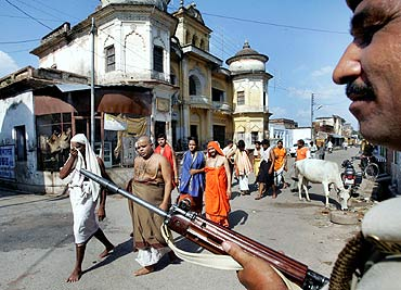Police patrol the streets of Ayodhya