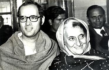 Indira Gandhi with her elder son Sanjay Gandhi