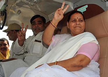 Rabri Devi at a campaign rally