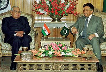 File photo shows Vajpayee with Musharraf in Islamabad