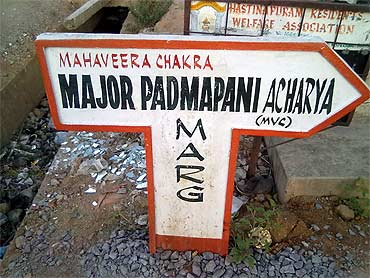 This road leads to the Hyderabad residence of Major Acharya