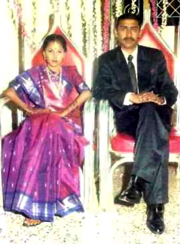 Major Acharya with Charulatha during their wedding