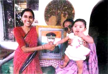 A file photo of Major Acharya's wife Charulatha, mother Vimla and daughter Aprajita