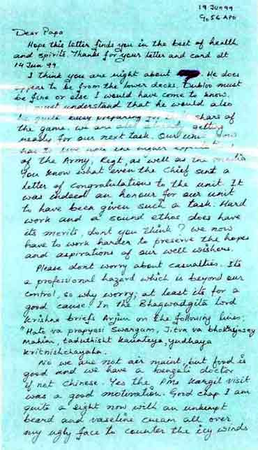 The last letter that Major Acharya wrote to his father