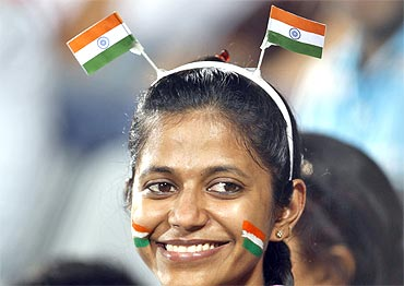 A spectator at the Commonwealth Games in New Delhi