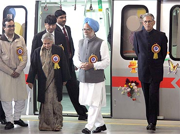 Prime Minister Manmohan Singh during the inauguration of the Delhi metro rail line