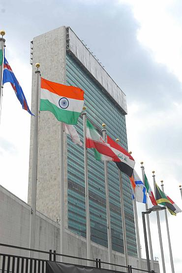 The UN headquarters in New York with the tricolour fluttering outside