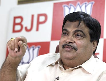 BJP President Nitin Gadkari speaks to mediapersons