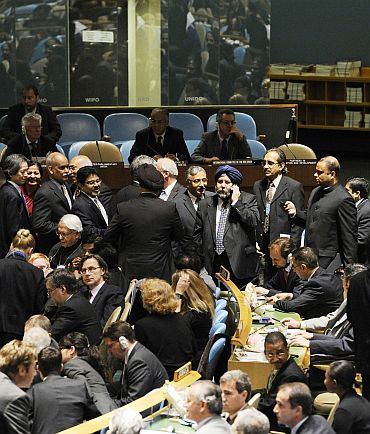 The Indian delegation receives congratulations in the General Assembly Hall, upon the country's election