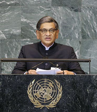 External Affairs Minister S M Krishna addresses the General Assembly