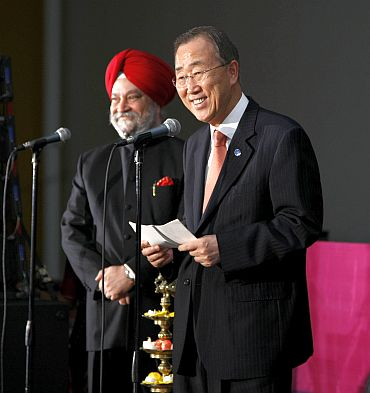 UN Secretary General Ban Ki-moon at India's Permanent Mission. Also pictured, Hardeep Singh Puri