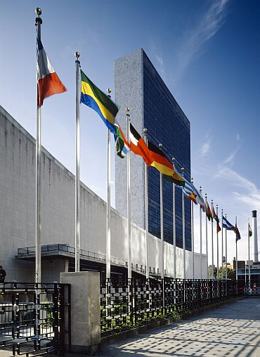 Flags of member nations fly at the United Nations