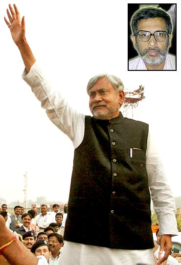 Bihar Chief Minister Nitish Kumar at an election rally in Patna. Inset: Dr Shaibal Gupta