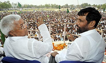 Lalu Prasad Yadav and his electoral ally Ram Vilas Paswan in Kishangunj