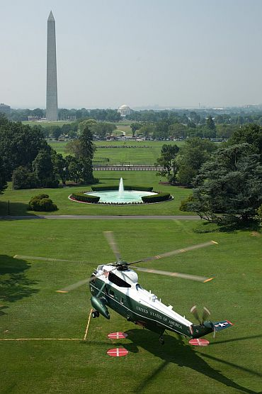 Marine One lifts off from the South Lawn of White House