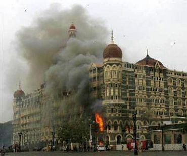 A burning Taj during the 26/11 attacks