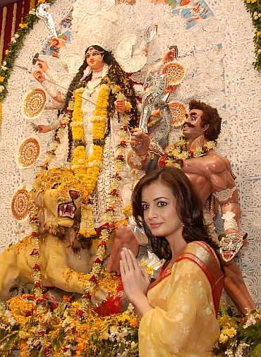 Actress Dia Mirza at a Durga Puja pandal in Mumbai