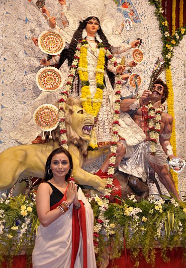 Actress Rani Mukerjee at a Durga Puja pandal in Mumbai