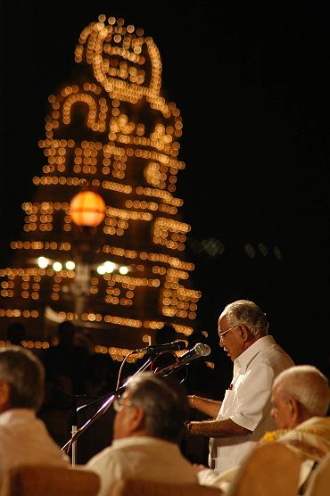 Karnataka CM speaks at a rally after the Dusshera celebrations in Mysore