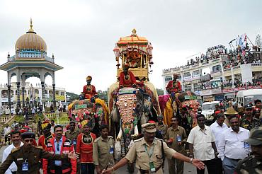 Balram, the elephant carries the Howdah during the procession