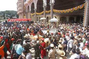 The procession of the royal family of Mysore, which takes place on the palace grounds