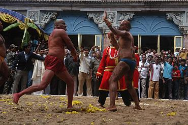 Wrestlers as part of a Tableau at the Dusshera celebrations