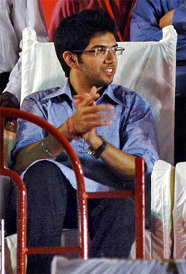 Aditya gestures during the rally