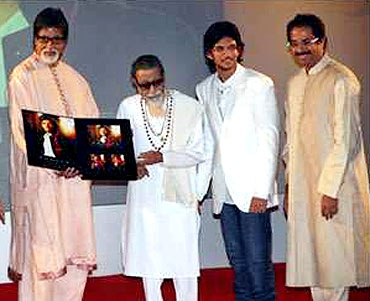 Aditya with Amitabh Bachchan, Bal Thackeray and Uddhav Thackeray at the launch function of his pop album