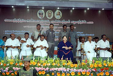 J Jayalalitha on the dais at the AIADMK rally in Madurai