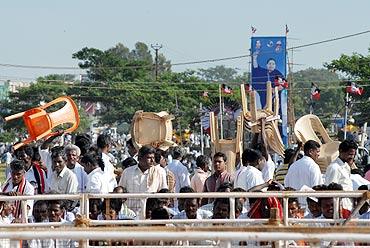 Huge crowds gathered to see AIADMK chief J Jayalalitha in Madurai