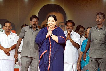 AIADMK leader J Jayalalitha gestures to the crowd