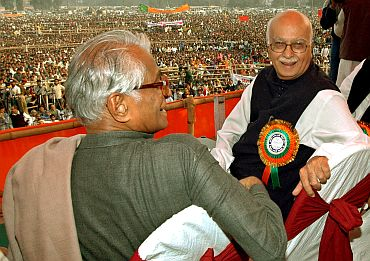 BJP leader L K Advani with George Fernandes at an election rally in Bihar earlier this decade