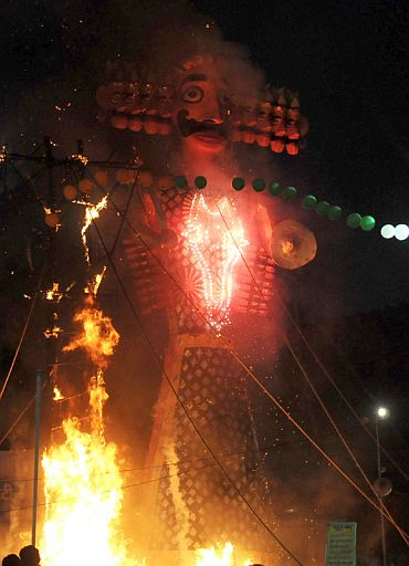 Ravan's effigy in flames, at the Dussehra celebrations, at Red Fort Ground on the auspicious occasion of Vijay Dashmi