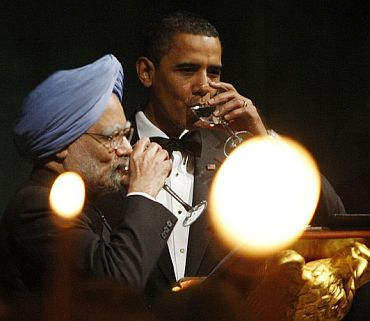File photo shows Dr Manmohan Singh with Obama during the former's visit to United States