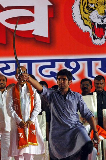Aditya brandishes a sword at the Sena's Dussehra rally in Mumbai