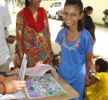 Shail, a regular at Kilkari with her Madhubani art