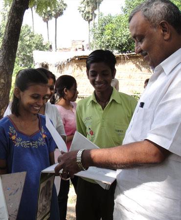 Anjani Kumar Singh, Bihar's Principal Secretary, Human Resources Development, with children