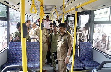 Commuters inside BEST operated Merc buses in Mumbai