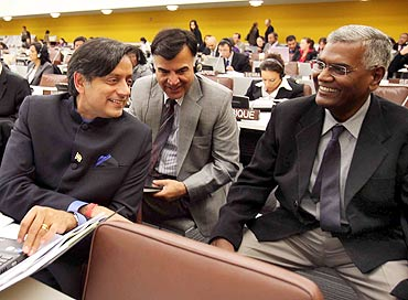 Tharoor with fellow MP D Raja at the UN