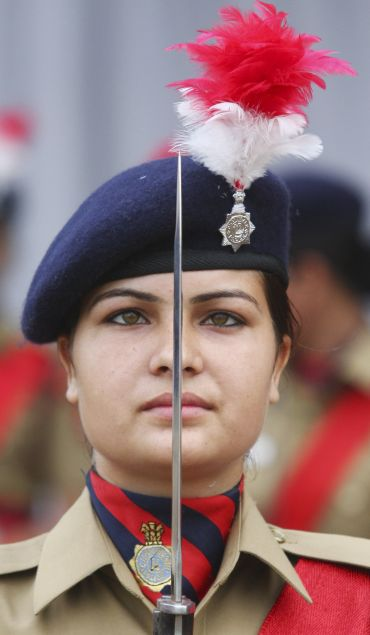 A soldier stands guard during the Independence Day celebrations in Chandigarh