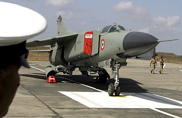 IAF fighter aircraft MIG-23MF stands at Jamnagar Air Force Base